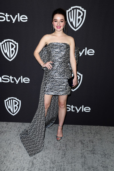 Kaitlyn Dever Platform Sandals [clothing,dress,shoulder,strapless dress,fashion model,fashion,black-and-white,carpet,premiere,red carpet,kaitlyn dever,beverly hills,california,the beverly hilton hotel,instyle,golden globes,warner bros.,arrivals,party]