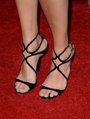 Sarah Wright chose a pair of strappy sandals to show off her baby blue pedicure.