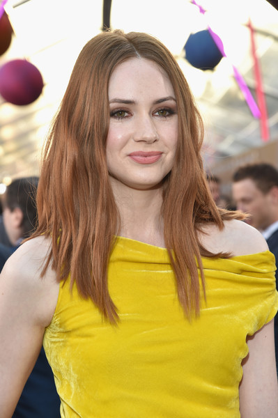 Karen Gillan Long Wavy Cut [guardians of the galaxy vol. 2,red carpet,hair,yellow,hairstyle,beauty,fashion,blond,long hair,brown hair,hair coloring,dress,karen gillan,dolby theatre,california,hollywood,disney,marvel,premiere,premiere]
