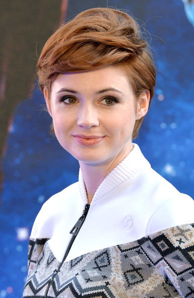 Karen Gillan Messy Cut [guardians of the galaxy premieres,hair,face,hairstyle,eyebrow,beauty,chin,lady,blond,brown hair,lip,karen gillan,part,london,uk,england,empire leicester square,premiere]