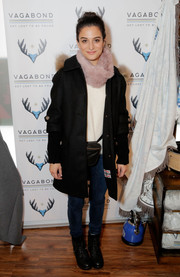 Jenny Slate kept warm with a classic black wool coat while visiting Kari Feinstein's Style Lounge.
