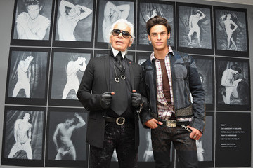 Karl Lagerfeld Baptiste Giabiconi Karl Lagerfeld Exhibition Launch at Maison Europeenne de la Photographie