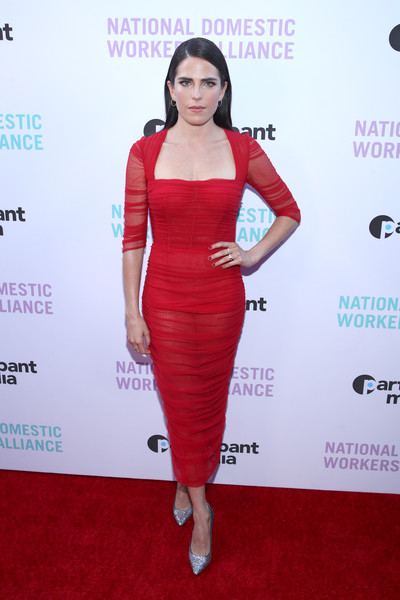 Karla Souza Evening Pumps [the heroines in our homes,clothing,dress,cocktail dress,shoulder,red carpet,red,fashion model,carpet,waist,hairstyle,karla souza,awards,los angeles,california,the jane club,national domestic workers alliance,awards night watch party,night watch party]