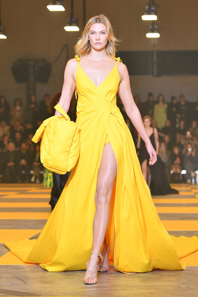 Karlie Kloss Wrap Dress [fashion model,fashion,fashion show,clothing,dress,gown,yellow,shoulder,haute couture,beauty,karlie kloss,part,runway,paris,france,paris fashion week womenswear fall,off-white,show]