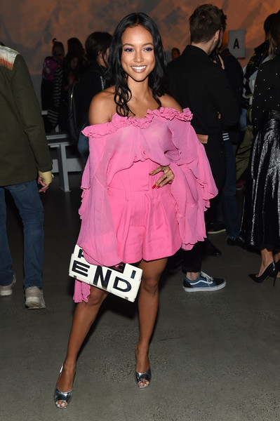 Karrueche Tran High-Waisted Shorts [shows,the shows,clothing,pink,shoulder,fashion,dress,cocktail dress,fashion model,event,fashion design,joint,prabal gurung,prabal gurung - front row,karrueche tran,front row,gallery i,new york city,spring studios,new york fashion week]
