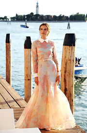Kasia exuded pure romance in this whimsical collared gown in Venice.