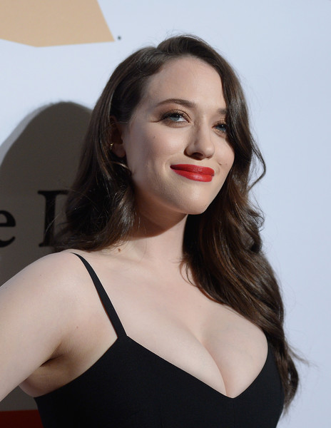 Kat Dennings Red Lipstick [hair,face,lip,beauty,skin,shoulder,eyebrow,hairstyle,chin,lady,irving azoff,kat dennings,arrivals,salute to industry icons,beverly hills,california,the beverly hilton hotel,pre-grammy gala]
