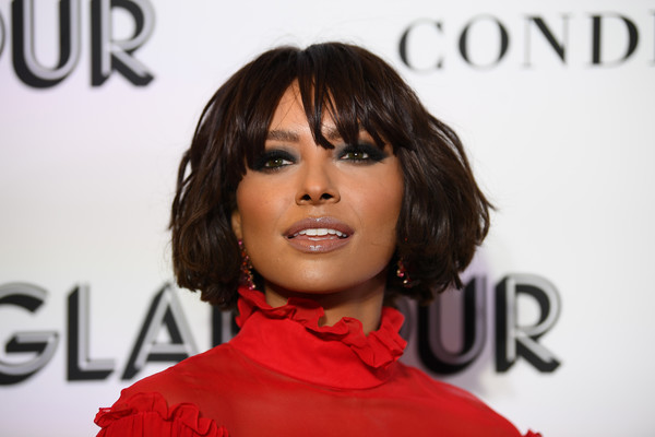 Kat Graham Bob [hair,hairstyle,lip,red,beauty,chin,eyebrow,bob cut,hair coloring,cheek,new york city,glamour women of the year awards: women rise,arrivals,kat graham]