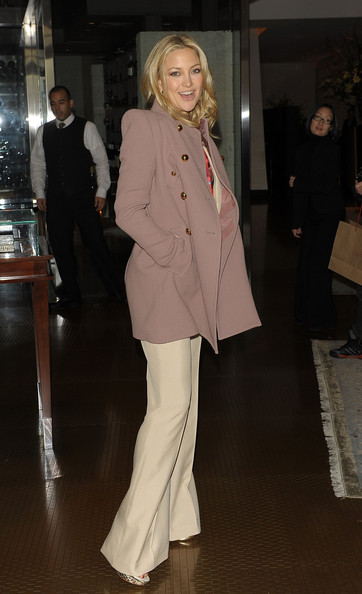 Kate Hudson Pea Coat [clothing,fashion,fashion model,outerwear,suit,pantsuit,coat,haute couture,formal wear,blazer,kate hudson,luncheon,per se,new york new york,the weinstein company,nine luncheon]