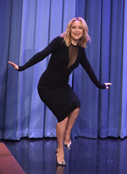 Kate Hudson showed some cleavage in a fitted, sheer-panel black top by Michael Kors while visiting 'Jimmy Fallon.'