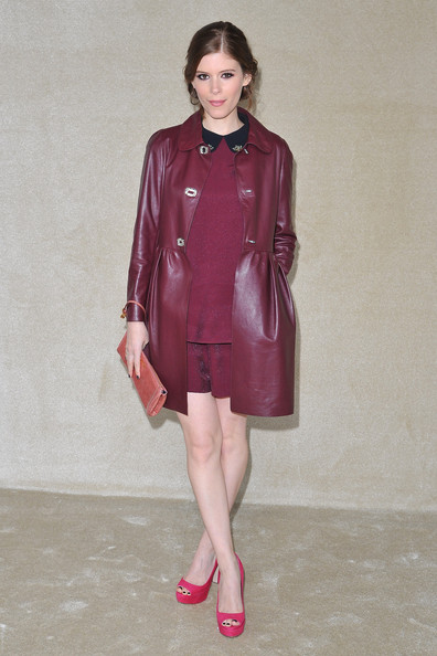 Kate Mara Leather Coat