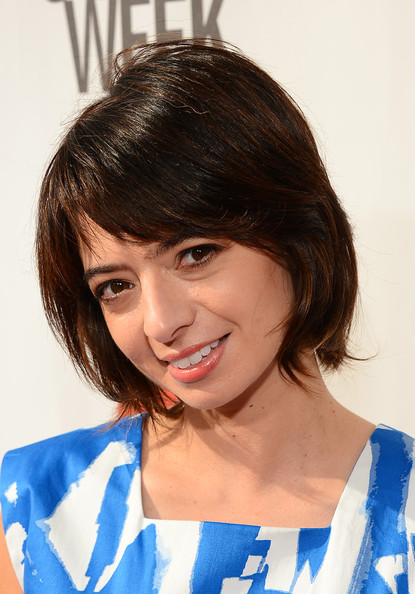 Kate Micucci Short Cut With Bangs [the big live comedy show,youtube comedy week presents,hair,hairstyle,face,chin,eyebrow,bob cut,bangs,black hair,forehead,brown hair,kate micucci,actress,culver city,california,garfunkel and oates,culver studios,youtube comedy week]