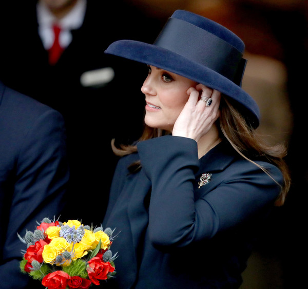 Kate Middleton Wide Brimmed Hat [lady,hat,flower,headgear,plant,fashion accessory,tradition,smile,photography,formal wear,catherine,service,duchess,service,cambridge,westminster abbey,london,england,commonwealth day,reception]