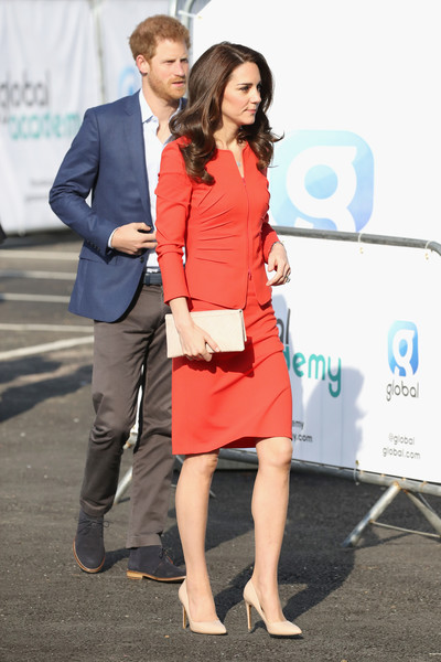 Kate Middleton Woven Clutch [clothing,red,fashion,dress,snapshot,cocktail dress,footwear,suit,leg,formal wear,harry,catherine,heads together,duchess,support,cambridge,the global academy,the duke duchess of cambridge,global,opening]