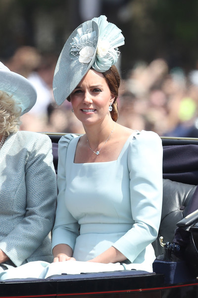 Kate Middleton Decorative Hat [hair,headpiece,lady,hairstyle,hair accessory,fashion,headgear,dress,tiara,fashion accessory,hm the queen,catherine,charles ii,guardsmen,duchess,cavalry,buckingham palace,attends trooping the colour,birthday,ceremony]