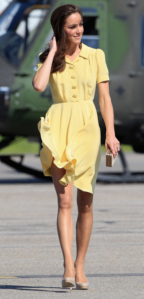 Kate Middleton Day Dress [fashion model,clothing,fashion,shoulder,yellow,waist,street fashion,leg,lady,dress,duke,duchess of cambridge,catherine,royal couple,duchess,canada,calgary airport,yellowknife,canadian tour,tour]