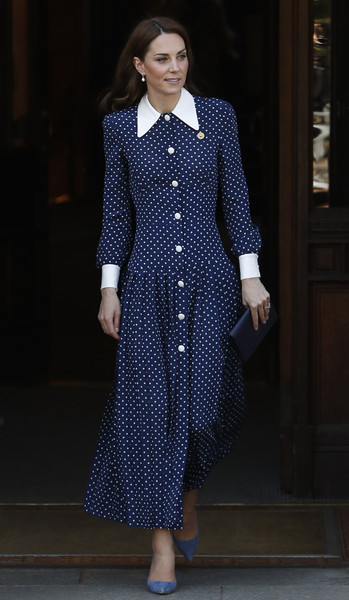 Kate Middleton Shirtdress [clothing,blue,fashion,cobalt blue,fashion model,electric blue,pattern,dress,haute couture,polka dot,duchess of cambridge,catherine,duchess,fashion,clothing,bletchley park,cambridge,d-day,exhibition,exhibition,catherine duchess of cambridge,polka dot,dress,fashion,clothing,runway,ellos,model,collar,alessandra rich]
