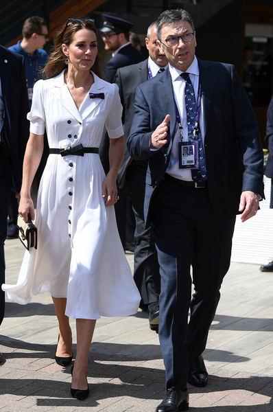 Kate Middleton Shirtdress [white,street fashion,clothing,fashion,suit,formal wear,dress,white-collar worker,footwear,coat,catherine,duchess,wimbledon,cambridge,england,london,all england lawn tennis and croquet club,championships,the championships]