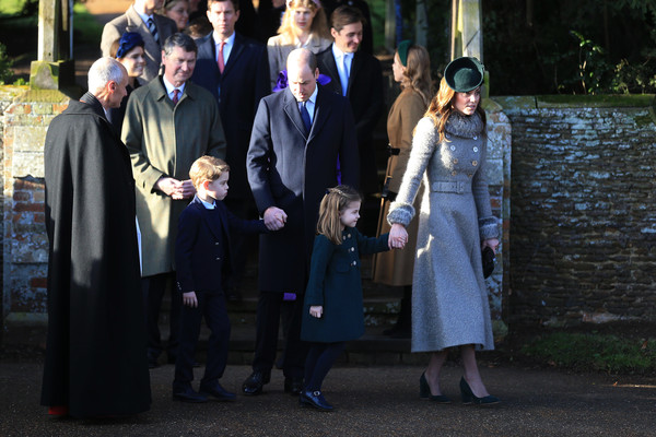 Kate Middleton Pumps [the royal family attend church on christmas day,social group,event,ceremony,uniform,family,prince william,catherine,service,princess,duchess,cambridge,church of st mary magdalene,charlotte,christmas day church]