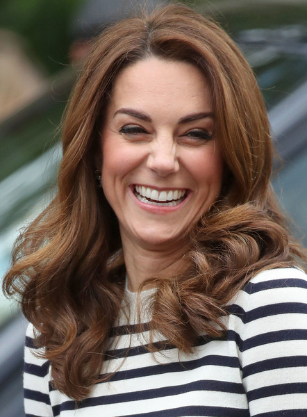 Kate Middleton Long Curls [hair,face,hairstyle,facial expression,eyebrow,blond,brown hair,beauty,smile,chin,duke,catherine,duchess,london,cambridge,england,greenwich,duchess of cambridge,kings cup regatta,launch]