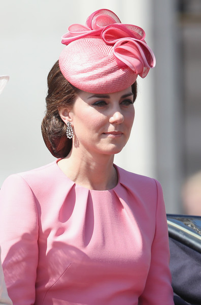 Kate Middleton Chignon [hair,pink,clothing,hairstyle,beauty,lip,fashion,headgear,headpiece,hair accessory,catherine,duchess,cambridge,london,england,trooping the colour,parade]