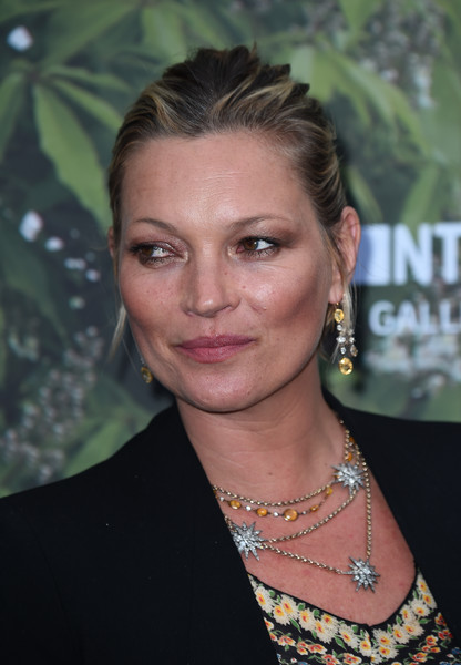 Kate Moss Classic Bun [hair,face,hairstyle,eyebrow,beauty,premiere,smile,fashion accessory,brown hair,long hair,arrivals,kate moss,london,england,the serpentine gallery,serpentine summer party]