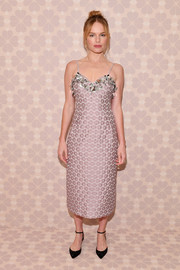 Kate Bosworth was vintage-chic in a lilac jacquard cocktail dress with an embellished neckline at the Kate Spade Spring 2019 show.