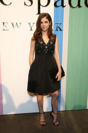 Anna Kendrick oozed classic elegance in a Kate Spade LBD with a pearl-embellished bodice during the label's presentation.