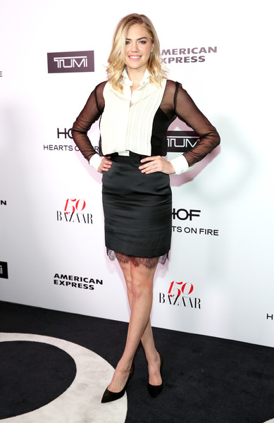 Kate Upton Tuxedo Top [clothing,fashion model,little black dress,cocktail dress,dress,flooring,formal wear,shoulder,leg,fashion,women,kate upton,harper,partnership,sunset tower,harpers bazaar celebrates 150 most fashionable women,bazaar,tumi,american express,celebration]