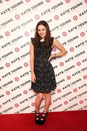 Atlanta de Cadenet chose a black floral-print dress, featuring a full circle skirt, for her look at the Kate Young for Target event.