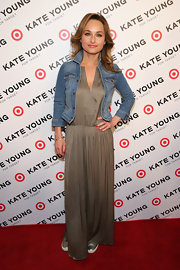 Giada De Laurentiis chose a fitted denim jacket to add a touch of preppy fun to her bohemian maxi.