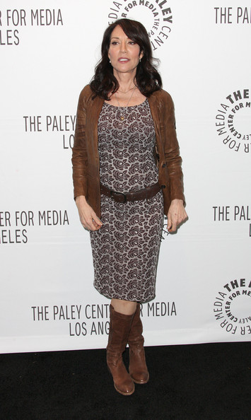 Katey Sagal Knee High Boots [sons of anarchy,clothing,dress,cocktail dress,shoulder,fashion,joint,hairstyle,brown,footwear,carpet,katey sagal,california,beverly hills,saban theatre,paley center for media,paleyfest]