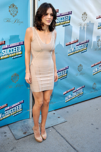 Katharine McPhee Cocktail Dress [how to succeed in business without really trying,clothing,dress,leg,premiere,thigh,cocktail dress,red carpet,fashion,human body,carpet,katharine mcphee,curtain call,al hirschfeld theatre,new york city,broadway,opening night - arrivals]