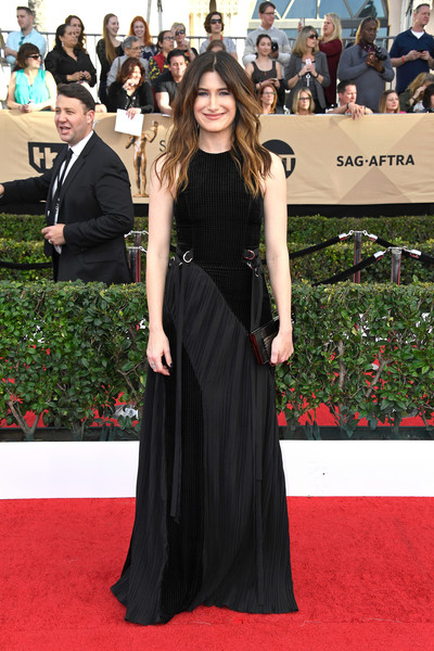 Kathryn Hahn Evening Dress [red carpet,carpet,dress,clothing,premiere,flooring,fashion,event,gown,shoulder,arrivals,kathryn hahn,screen actors guild awards,los angeles,california,the shrine auditorium]