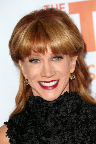 Kathy Griffin Half Up Half Down [hair,face,hairstyle,lip,blond,eyebrow,chin,bangs,beauty,hair coloring,kathy griffin,jane lynch,toyota for the trevor project - arrivals,trevorlive la,hollywood palladium,california,toyota,trevor project]