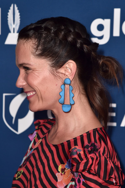 Katie Aselton French Braid [hair,ear,audio equipment,hairstyle,chin,organ,headphones,technology,singer,neck,arrivals,katie aselton,glaad media awards,jewelry detail,beverly hills,california,the beverly hilton hotel]