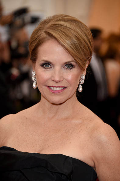 Katie Couric Pearl Drop Earrings [charles james: beyond fashion costume institute gala,hair,face,hairstyle,eyebrow,beauty,blond,shoulder,lip,chin,skin,red carpet arrivals,katie couric,part,new york city,metropolitan museum of art,met gala]