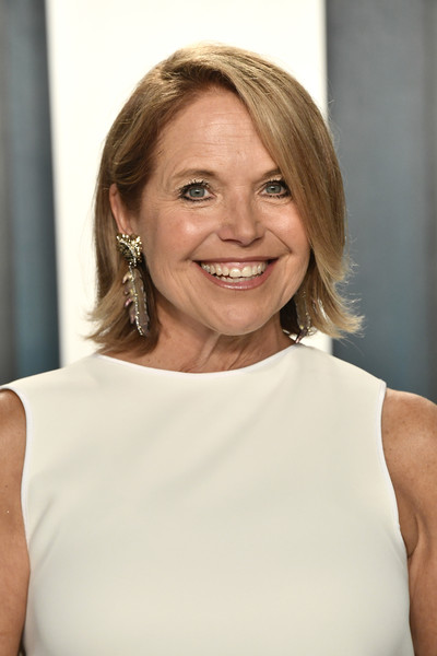 Katie Couric Bob [hair,face,shoulder,blond,hairstyle,skin,beauty,eyebrow,chin,joint,radhika jones - arrivals,radhika jones,katie couric,beverly hills,california,wallis annenberg center for the performing arts,oscar party,vanity fair,katharine mcphee,celebrity,oscar party,united states,vanity fair,fashion,beauty,cbs]