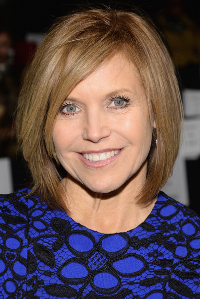 Katie Couric Bob [hair,face,hairstyle,blond,eyebrow,chin,bob cut,layered hair,hair coloring,bangs,katie couric,carmen marc valvo,front row,new york city,lincoln center,the salon,fashion show,carmen marc valvo show,mercedes-benz fashion week]