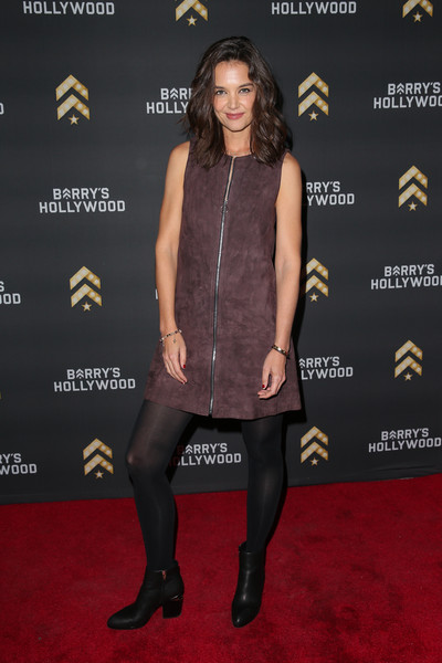 Katie Holmes Ankle Boots [clothing,dress,carpet,tights,red carpet,little black dress,footwear,fashion,joint,premiere,grand opening of barry,katie holmes,bootcamp hollywood,hollywood,california,launch]