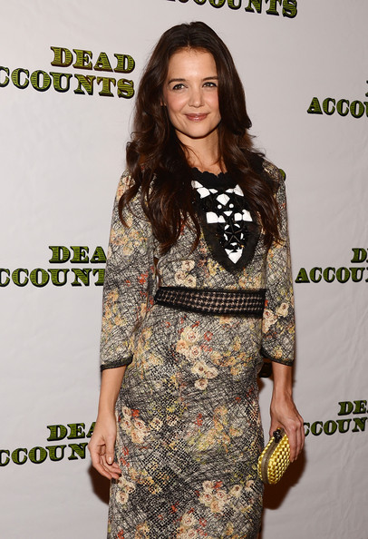 Katie Holmes Woven Clutch [clothing,dress,fashion model,fashion,premiere,cocktail dress,footwear,red carpet,brown hair,long hair,katie holmes,dead accounts,new york city,broadway,gotham hall,party,opening night,party]