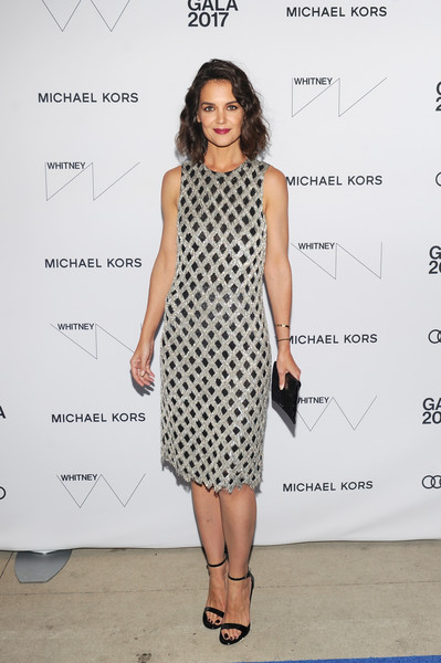 Katie Holmes Beaded Dress [fashion model,clothing,catwalk,dress,flooring,fashion show,fashion,cocktail dress,pattern,design,whitney museum celebrates annual spring gala,katie holmes,whitney museum,new york city,studio party,spring gala]