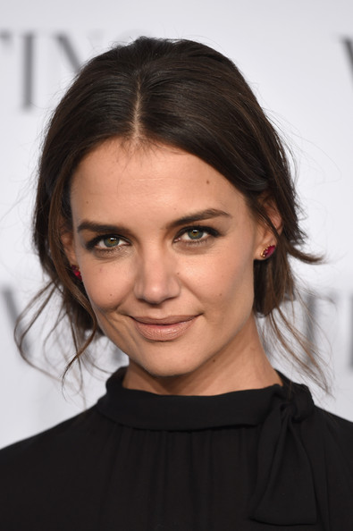 Katie Holmes Gemstone Studs [hair,face,eyebrow,hairstyle,chin,lip,shoulder,beauty,skin,forehead,arrivals,valentino sala bianca 945,katie holmes,new york city,event]