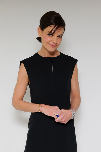 Katie Holmes Gemstone Ring [blue book,clothing,black,little black dress,dress,shoulder,neck,fashion,sleeve,waist,cocktail dress,tiffany debuts,tiffany debut,katie holmes,guggenheim museum,new york,united states,guggenheim museum in new york]