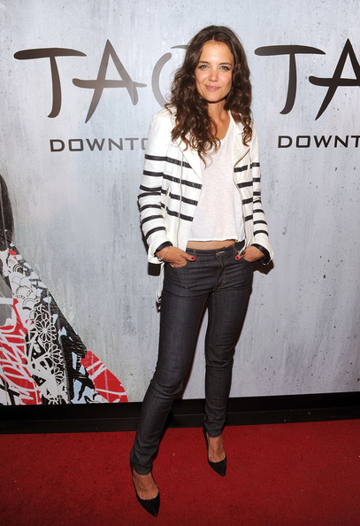 Katie Holmes Skinny Jeans [clothing,fashion,jeans,footwear,shoulder,fashion model,premiere,carpet,outerwear,joint,nyc,tao downtown grand opening,katie holmes]