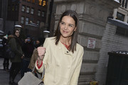 Katie Holmes Leather Coat