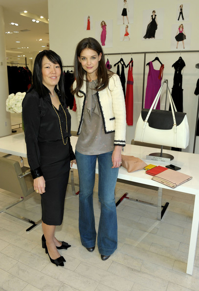 Katie Holmes Tweed Jacket [jeanne yang to preview the fall 2010 collection in beverly hills,fashion,footwear,boutique,fashion design,blazer,event,outerwear,jeans,shoe,style,fall 2011 collection,katie holmes,designers,jeanne yang,beverly hills,california,barneys new york]