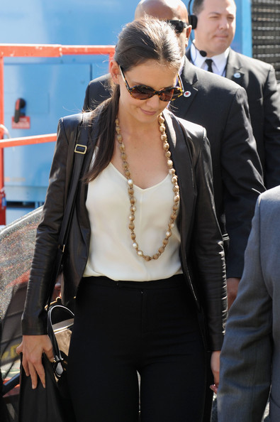 Katie Holmes Faux Pearls