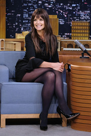 Katie Holmes paired black patent pumps with a matching mini dress for her appearance on 'Jimmy Fallon.'