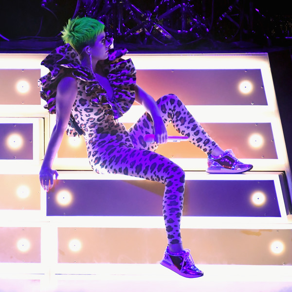 Katy Perry Crosstrainers [purple,violet,fashion,performance,dancer,leg,electric blue,event,fashion design,thigh,katy perry,social ready content,retransmission,crop,the theatre,california,los angeles,ace hotel,citi sound vault]